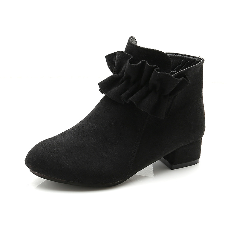 NEW 2019 Girls Leather Boots Shoes Autumn Winter PU Children Fashion Kids 4 5 6 7 8 9 10 11 12