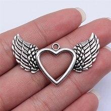WYSIWYG 4 Uds. 47x29mm colgante de alas de corazón hueco de Color plata antigua para fabricación de joyería DIY, accesorios de joyería