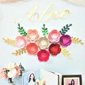 Image 3 - DIY przedszkole ścienne papier dekoracyjny kwiaty liście zestaw na urodziny tła rękodzieło dekoracyjne kwiat sztuka wystrój w stylu Boho w kwiaty przedszkole