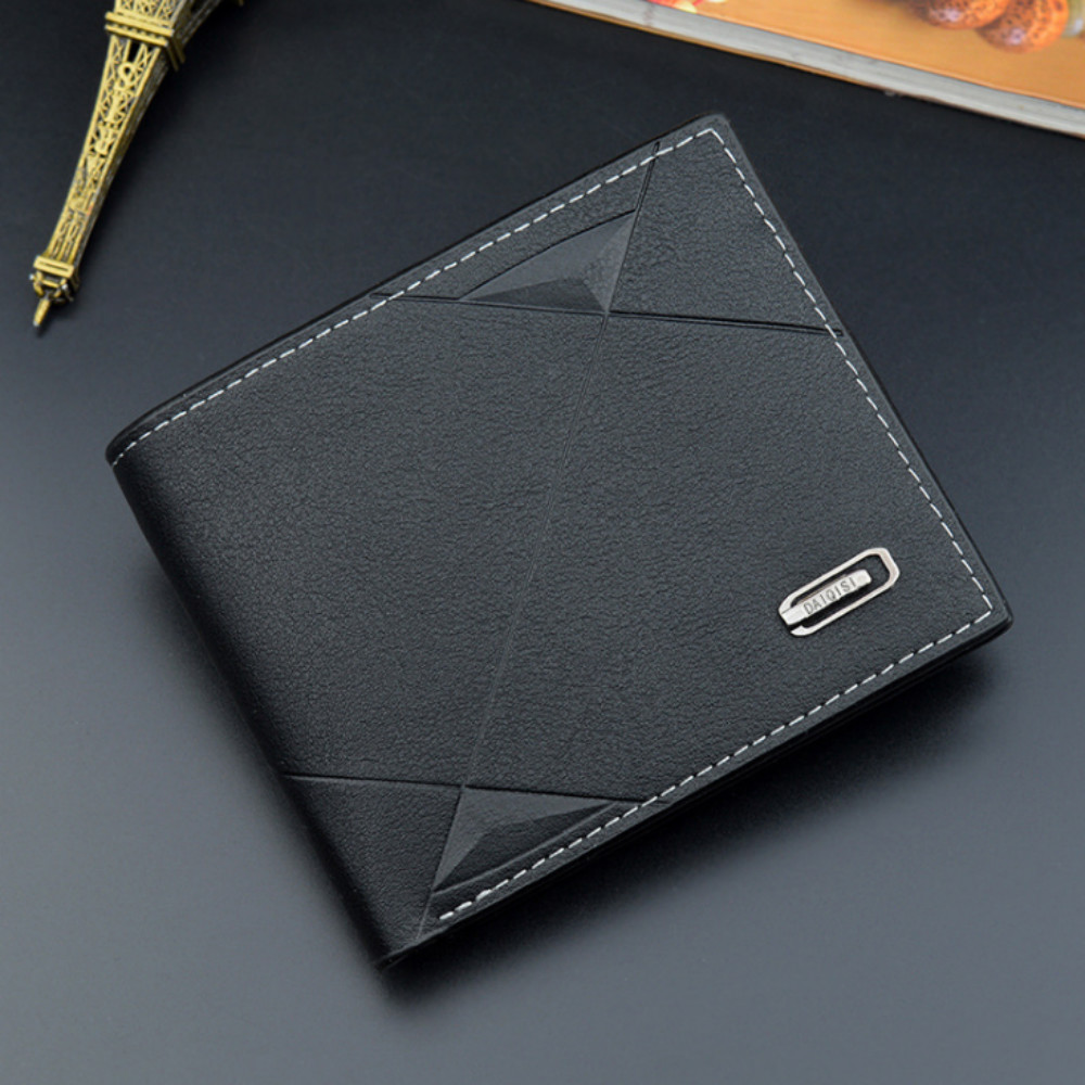 Men Short Bifold Faux Leather Masculina Billetera Credit ID Card Holder Wallet Billfold Purse Clutch Solid Hombre Business Slim|Wallets|   - AliExpress