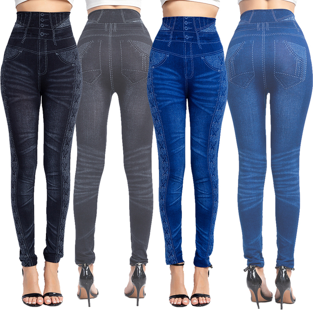Women Sexy Push Up Seamless High Waist Warm Jeans Leggings Women Spring Elastic Faux Denim Jeggings Pants Leggins Mujer 3XL 1