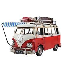 Nostalgic Vintage Bus Model Metal Car Figurines With Canopy Home Decoration Ornaments Bus Ornaments Desktop Decor