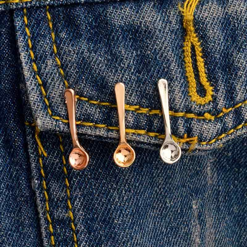 3 Buah/Set Cangkir Kopi Mengukur Sendok Bros Kecil Sendok Pin Mantel Ransel Gaun Aksesoris Kerah Pin Lencana Kopi Perhiasan Hadiah
