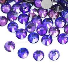 Novo roxo vitrail violeta ss16 ss20 não quente fix strass plana volta cristal strass glitters pedra para diy prego vestuário diamante