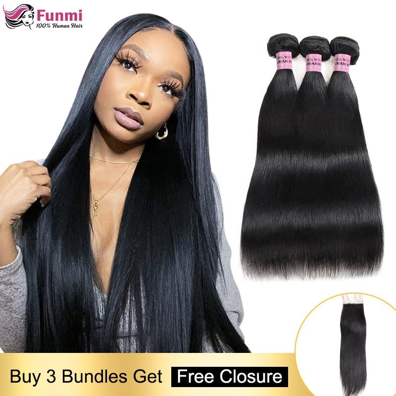 Free Closure Straight Human Hair Bundles Peruvian Hair Weave Bundles Straight Hair Bundles With Closure 100% Human Hair Non-Remy
