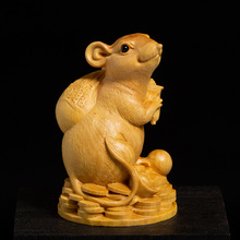 Boxwood Statue Rich Rat Zodiac Lucky Feng Shui Living Room Decorative Wood Carving Crafts Gold Mouse Animal Sculpture Home Decor