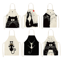 1Pcs Kitchen Apron Funny Dog Bulldog Cat Printed Sleeveless Cotton Linen Aprons for Men Women Home Cleaning Tools 55x68cm