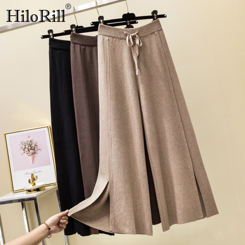 Knitted   Wide     Leg     Pants   Women Trousers 2019 Autumn Winter Loose Casual Elastic Waist   Pants   Pure Split Soft Cashmere Sweater   Pants