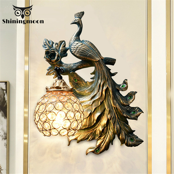 Vintage Peacock Wall Lamp Modern Creative Resin Led Sconce for Bedroom Living Room Industrial Decor Corridor Wall Sconce Lamp