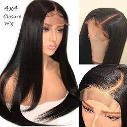 Remy Indische 4x4 Verschluss Perücke Gerade Spitze Verschluss Perücke Spitze Verschluss Perücken PrePlucked Mit Baby Haar 1b kontaktieren uns wimpern