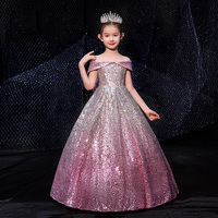 Luxury Bling First Holy Communion Dress Off Shoulder Kids Pageant Dress for Birthday Christmas Party Big Bow Girls Formal Dress