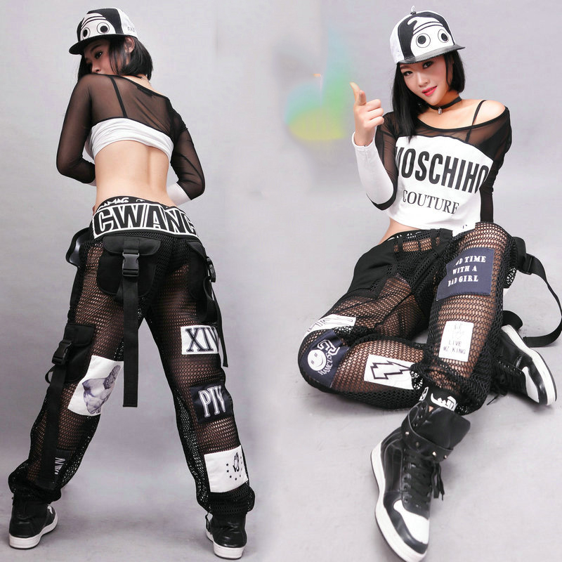 Jazz Dance Costumes Fashion Sexy Mesh Pants Hip Hop Clothing Adult Street Dancing Trousers NightclubModern Stage Outfit DT1073