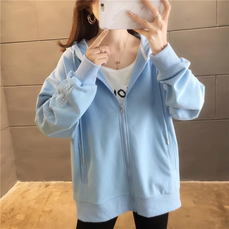 M-2xl Cotton Letter Embroidery Long Sleeve Hoodies Sweatshirts 2019 Autumn Loose Preppy Style Casual Sweatshirt SUITLIONBUTF 53
