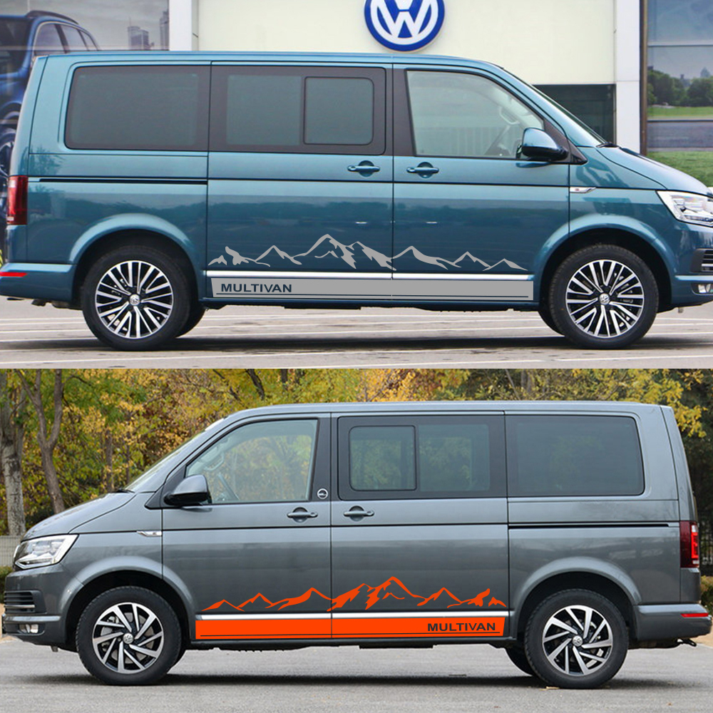 Image 4 - 2Pcs Side Stripes Car Stickers Vinyl Film Auto Mountain Graphics Decals For Volkswagen Multivan Styling Car Tuning Accessories-in Car Stickers from Automobiles & Motorcycles