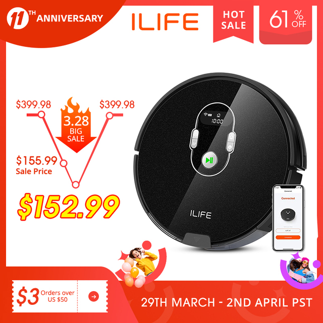 ILIFE A7 Robot Cleaner Vacuum Smart APP Remote Control for Hard Floor and Thin Carpet Automatic Recharge Slim Body 1