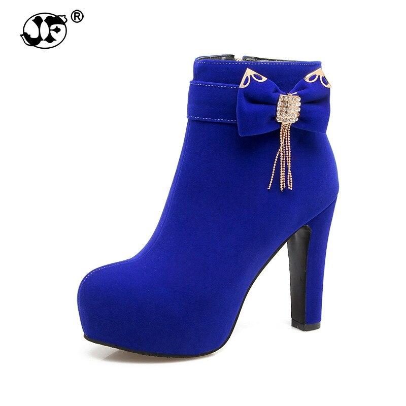2019 große Größe 32-43 Plattform Bogen Frauen Schuhe Frau Mode High Heels Winter Stiefeletten weibliche Schuhe Schwarz blau yhj89
