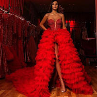 Gorgeous Red Crystal High Low Tulle Evening Dresses Ruffles Tiered Long Tutu Prom Gowns Sweetheart Beaded Party Dress