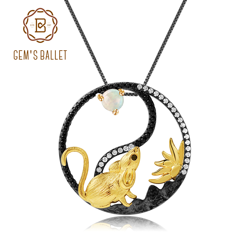 GEM'S BALLET Chinese Zodiac Rat Pendant Necklace For Women Natural African Opal 925 Sterling Silver Yin and Yang Animal Jewelry