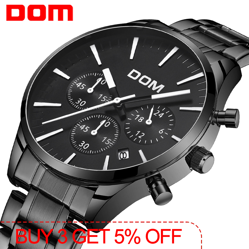 DOM New Watches Men Luxury Brand Stop Watch Men Sport Watches High Quality Steel Quartz Wristwatch Relogio Masculino M-635BK-1M