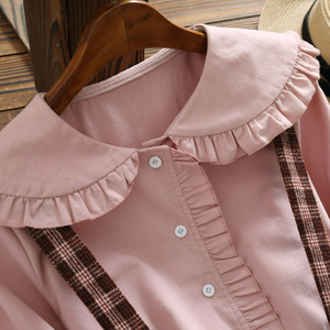 Image 4 - 2019 Autumn Women Two piece set Casual Long Sleeve Cotton Shirt Tops + Long Plaid Skirts Womens Suit Set 2 Piece Set Women