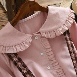 Image 4 - 2019 herbst Frauen Zwei stück set Casual Langarm Baumwolle Hemd Tops + Lange Plaid Röcke Frauen Anzug Set 2 stück Set Frauen