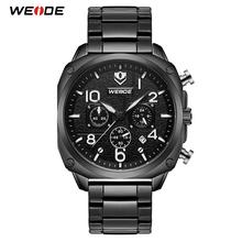 WEIDE zegarek mężczyźni zegary kwarcowe zegarki dla mężczyzn wojskowy Sport wodoodporny zegarki męskie zegarek Relogio Masculino tanie tanio 17 5cm QUARTZ 3Bar Składane zapięcie z bezpieczeństwem STAINLESS STEEL 11 3mm Hardlex Kwarcowe Zegarki Na Rękę 44mm