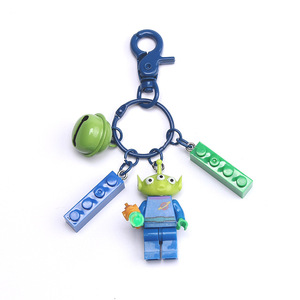 Creative Game Minecraft Key Chains Building Block Key Chain Cartoon Three Eyes Key Ring Bag Pendant Exquisite Gift for Friends(China)