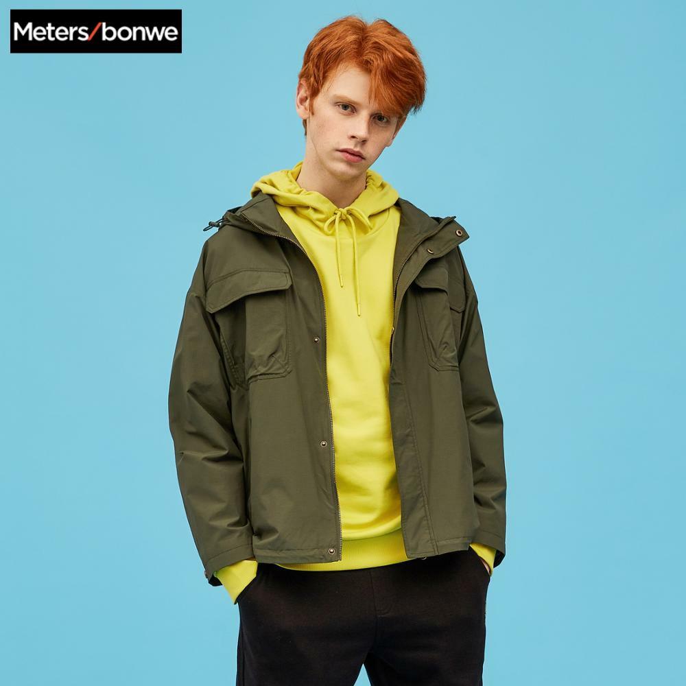 Metersbonwe, Мужская Новинка 2020, Весенняя повседневная куртка, Мужская, красивая, модная, с капюшоном, однотонная, расслабленная, трендовая, повсе...
