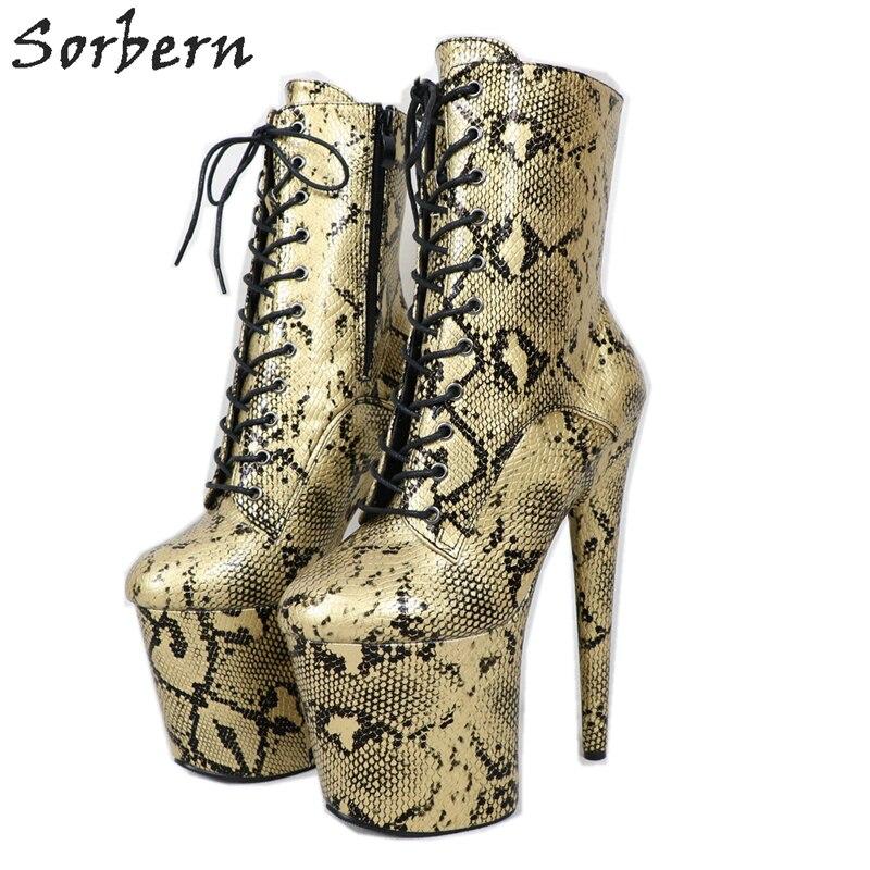 Sorbern Snakeskin Print Ankle High
