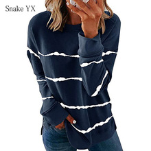 Snake YX Women's Clothing Autumn Winter Tie-dye Striped Printed Striped Round Neck Loose Casual Long Sleeve Plus Size T-shirt
