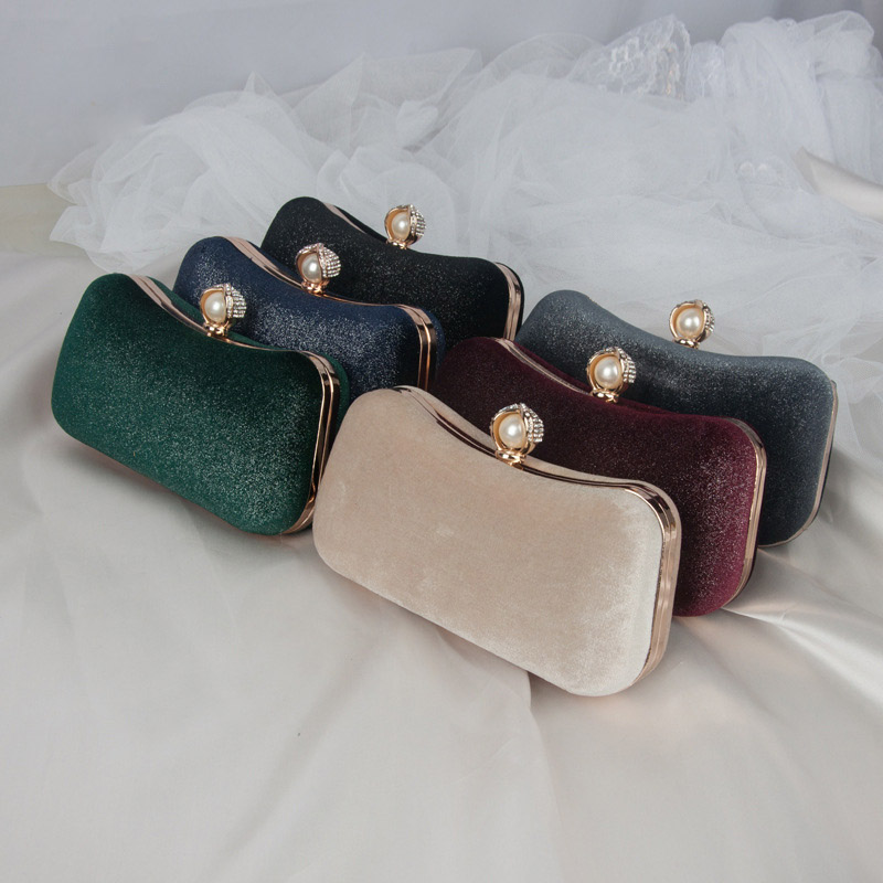 Colors Green Burgundy Black Dark Blue Fashion Velvet Lady Shoulder Purse Women Evening Bags Female Party Bridal Wedding Clutches