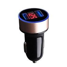 מטען לרכב 5v 3.1a טעינה מהירה כפולה יציאת USB תצוגת LED מצית טלפון מתאם