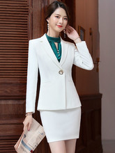 2019 spring and autumn style small suit jacket for ladies business Korean version all-white formal suit for ladies