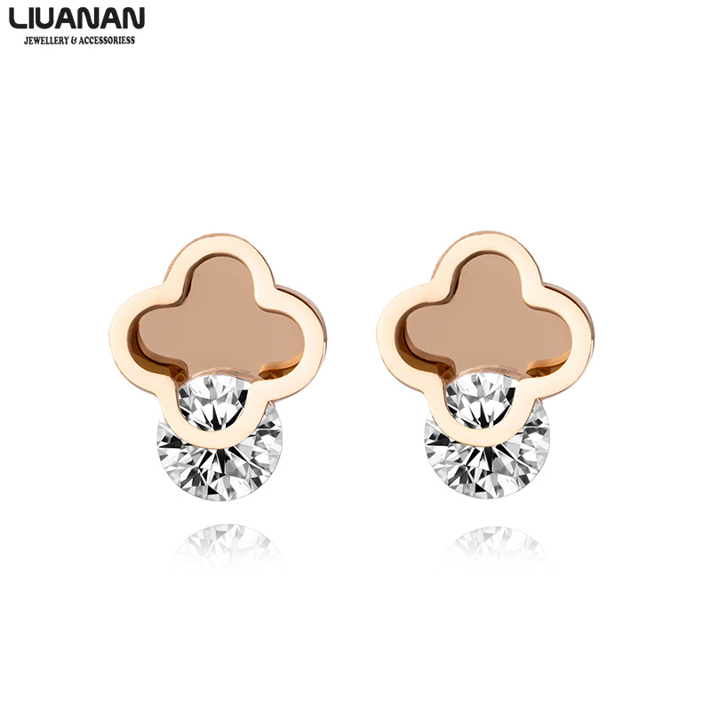 Clover Screw Stud Earrings with Zircon Stainless Steel Rose Gold Earrings Female Girl Ear Jewelry Fashion Accessories(China)