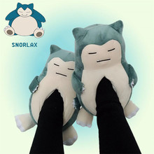 Hot New Japan Anime Pokemon Slipper Cartoon Cute Snorlax Cosplay Props Cotton Shoes Winter Keep Warm Home Shoes 35-42