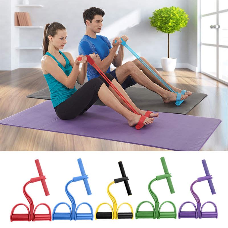 <font><b>Fitness</b></font> Elastic Sit Up Pull <font><b>Rope</b></font> Nature Latex <font><b>4</b></font> <font><b>tube</b></font> Tension Trainer Weight Loss Workout Sports Foot Expander Chest Pull 1PC image
