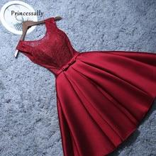 Новые короткие вечерние платья из сатина с кружевами и цвет красного вина серый ТРАПЕЦИЕВИДНОЕ ПЛАТЬЕ невесты Вечерние торжественное платье Встреча выпускников/корпоративы Выпускной платья Robe De Soiree платье вечерне