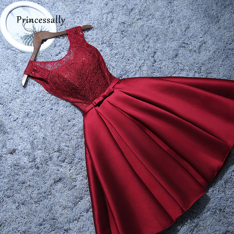 New Short Evening Dress Satin Lace Wine Red Grey A line Bride Party Formal Dress Homecoming Graduation Dresses Robe De Soiree