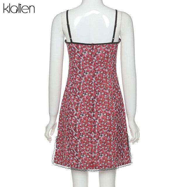 KLALIEN women summer boho red strap mini dress ladies fashion cute sweet college style kawaii slim soft floral dress new