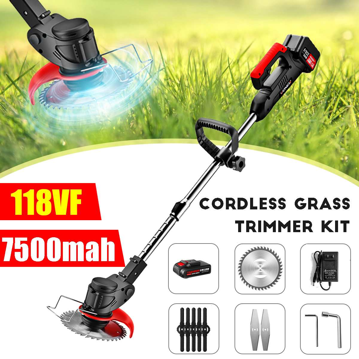 118VF Electric Grass Trimmer Cordless Lawn Mower Auto Release String Cutter Pruning Garden Tools with 7500mah Battery