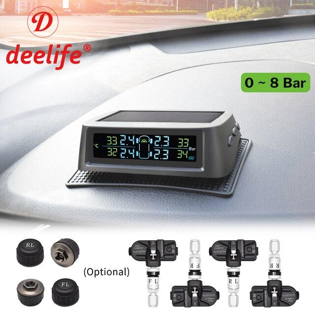 Deelife TPMS monitorowanie ciśnienia w oponach samochodowych automatyczne sterowanie słoneczne TMPS 0-8 bar zewnętrzne wewnętrzne czujniki ciśnienia w oponach