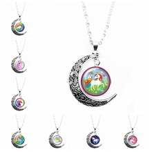 2019 New Anime Cute Horse Necklace Pendant Handmade Avatar Round Convex Glass Necklace Pendant Cute Trend Style 2019 new trend color woodpecker glass convex round pendant necklace youth accessories handmade necklace pendant