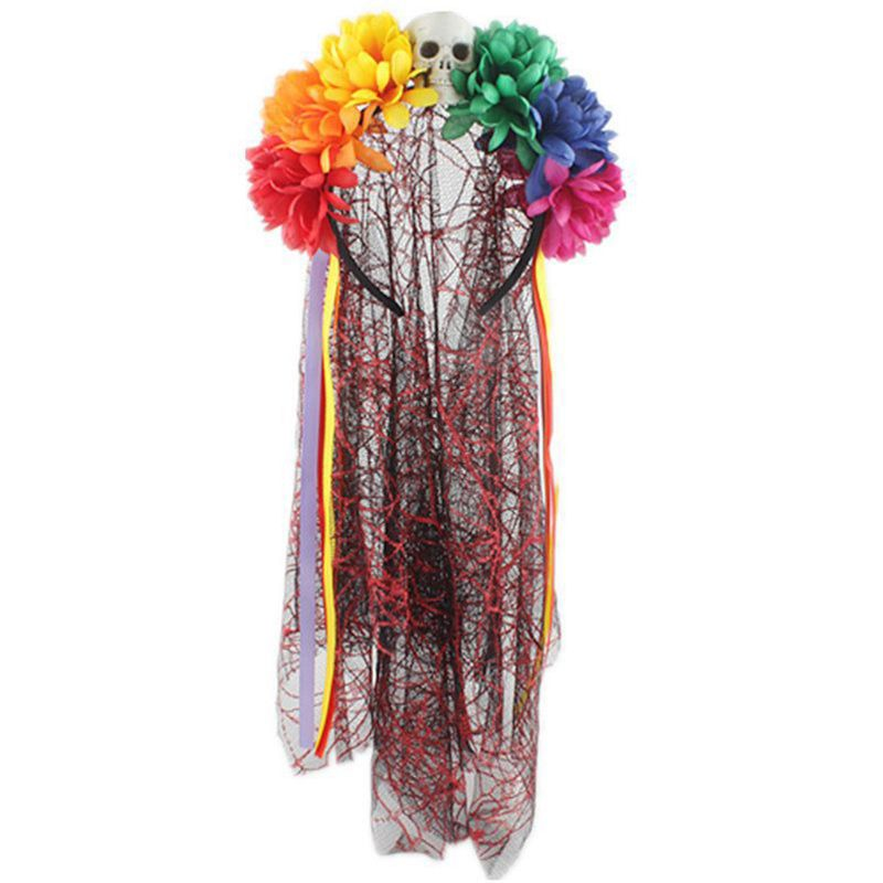Women Girls Halloween Handmade Multi Colored Artificial Flower Headband With Skull Head Lace Veil Ribbon Mexican Party Costume