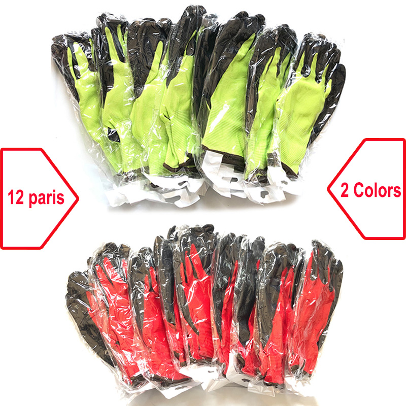 24Pcs/12 Pairs Safety Work Rubber Gloves Nylon Knitted Glove Latex Coated For Gardener Builder Driver Mechanic Protective Gloves