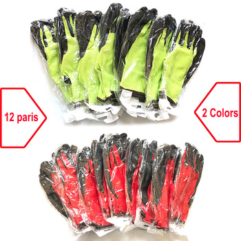 24Pcs/12 Pairs Safety Work Rubber Gloves Nylon Knitted Glove Latex Coated For Gardener Builder Driver Mechanic Protective - discount item  35% OFF Workplace Safety Supplies