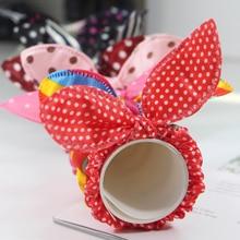 50Pcs  Mix Styles Children Hair Band Cute Polka Dot Bow Rabbit Ears Headband Scrunchy Kids Tie Accessories