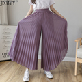 Fashion Streetwear Pleated Culotte Mujer Pants Blue Black Purple Chiffon Trousers Stretch High Waist Loose Wide Leg Pants Women