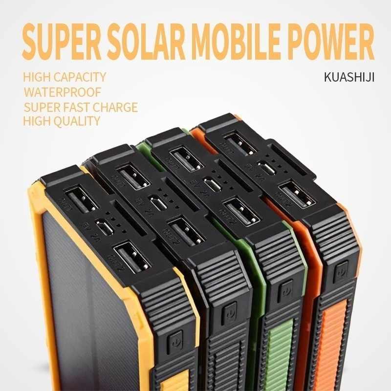 Gran capacidad banco de energía Solar 30000mAh Dual-USB impermeable banco de energía Solar cargador de batería para todos los teléfonos Iphone Huawei Xiaomi
