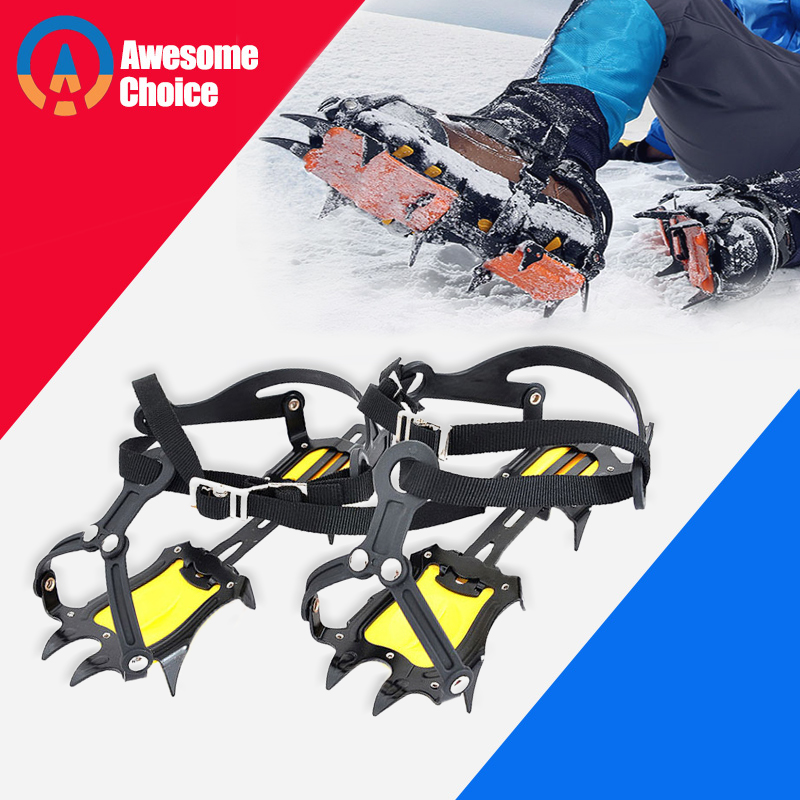 ปรับ 10 Crampons ฟันแมงกานีสเหล็กปีนเขาเกียร์หิมะน้ำแข็ง Anti-Skid รองเท้า Grippers Crampon อุปกรณ์ปีนเขา