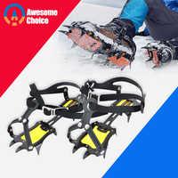 Adjustable 10 Teeth Crampons Manganese Steel Climbing Gear Snow Ice Anti-Skid Shoe Grippers Crampon Device Mountaineering